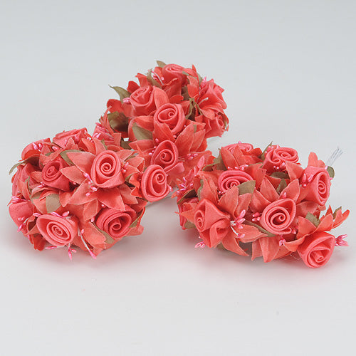 12 Mini Roses Bush Coral Satin Mini Rose Bush