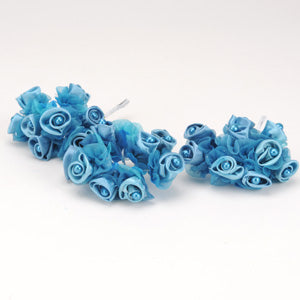 12 Mini Buds Turquoise Satin Rose Buds