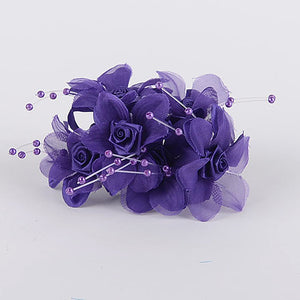 12 Mini Flowers Purple Satin Flowers with Pearl Beads (6x12)