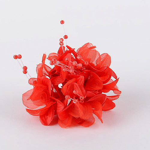 12 Mini Flowers Red Satin Flowers with Pearl Beads (6x12)