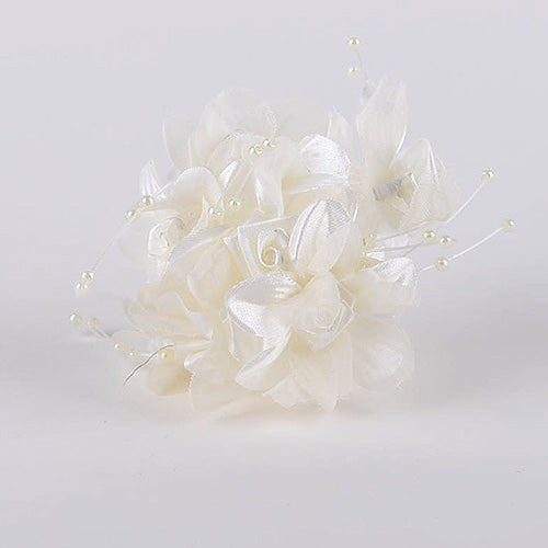 12 Mini Flowers Ivory Satin Flowers with Pearl Beads (6x12)