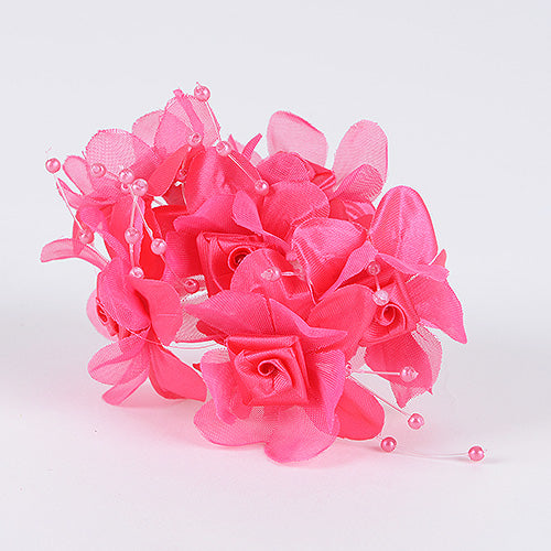 12 Mini Flowers Fuchsia Satin Flowers with Pearl Beads (6x12)