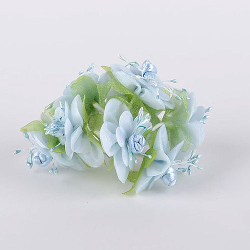 12 Mini Flowers Blue Organza Mini Flowers (8x12)