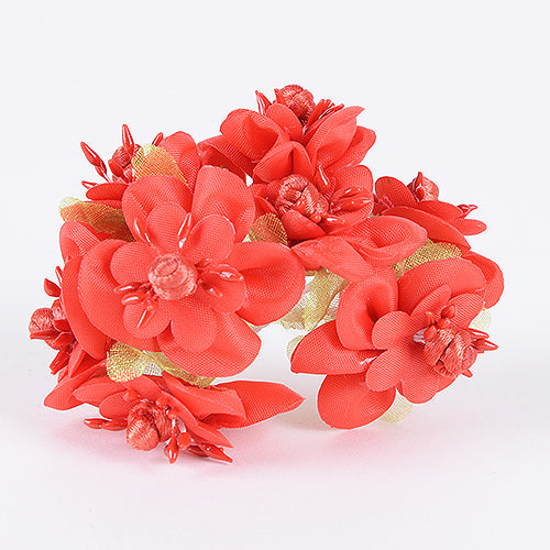 12 Mini Flowers Red Organza Mini Flowers (8x12)