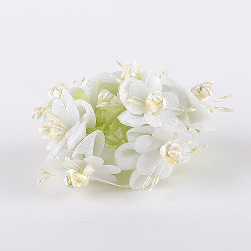 12 Mini Flowers Ivory Organza Mini Flowers (8x12)