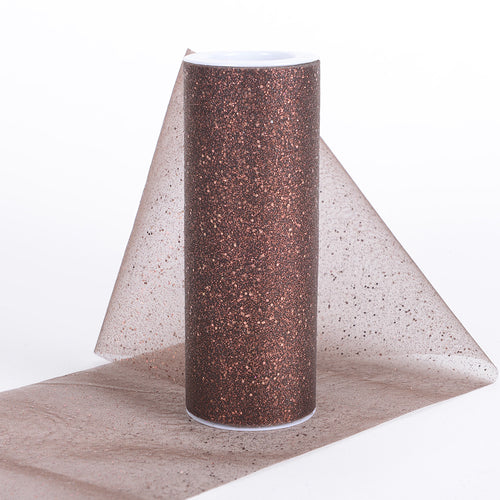 6 inch Chocolate Brown 6 inch Confetti Organza Roll