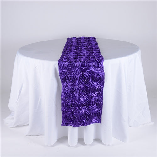 Purple - 14 x 108 Inch Rosette Satin Table Runners - FuzzyFabric