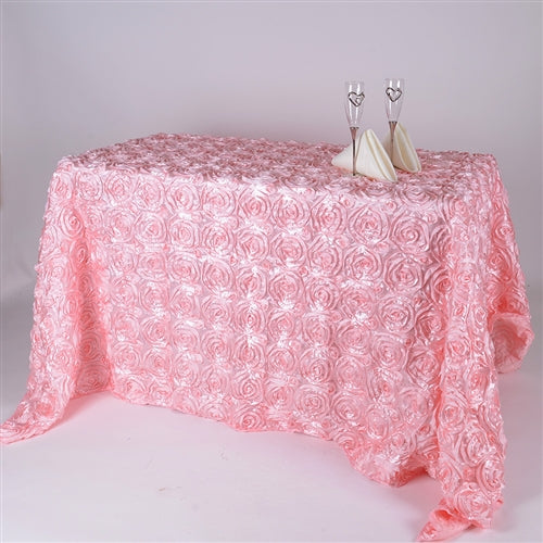 Pink - 90 x 132 Inch Rosette Rectangle Tablecloths