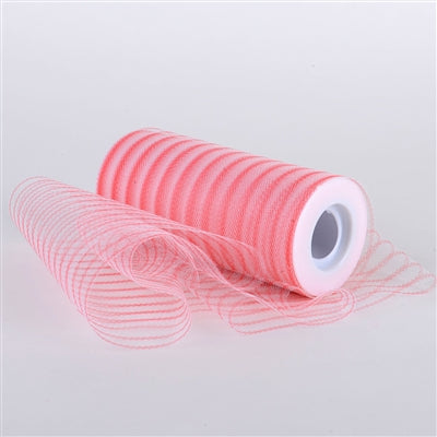 Coral Multi Striped Tulle - ( W: 6 inch | L: 10 Yards )