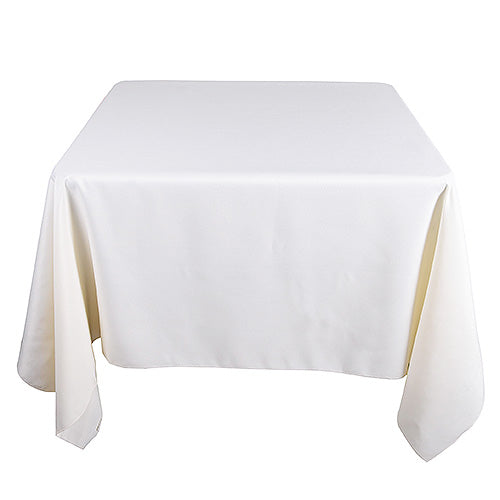 Ivory - 85 x 85 inch Polyester Square Tablecloths