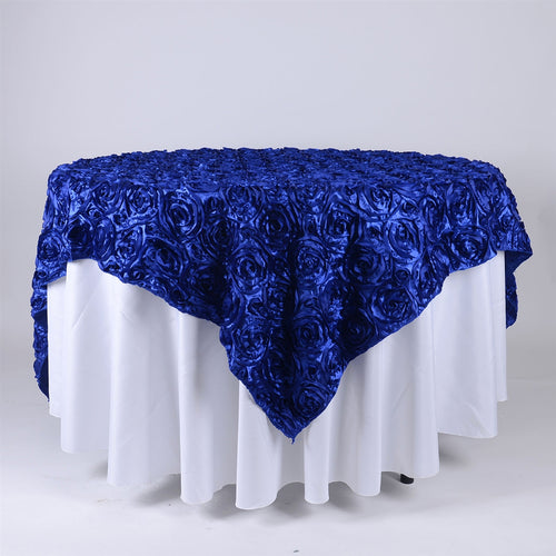 Royal Blue - 85 x 85 inch Rosette Satin Square Table Overlays