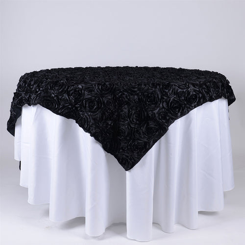 Black - 85 x 85 inch Rosette Satin Square Table Overlays