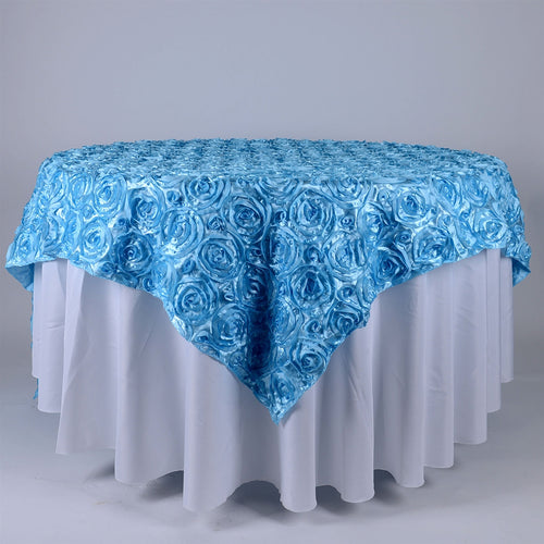 Light Blue - 85 x 85 inch Rosette Satin Square Table Overlays