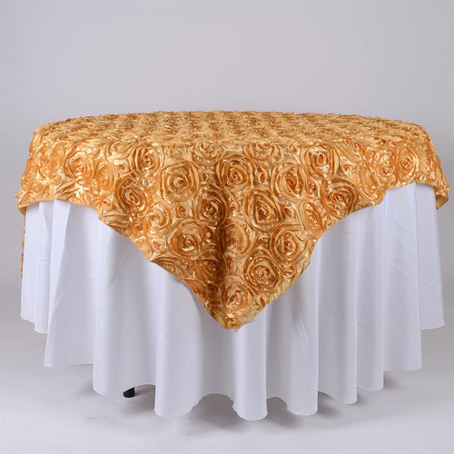 Gold - 85 x 85 inch Rosette Satin Square Table Overlays