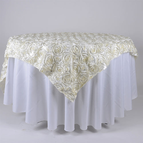 Ivory - 85 x 85 inch Rosette Satin Square Table Overlays