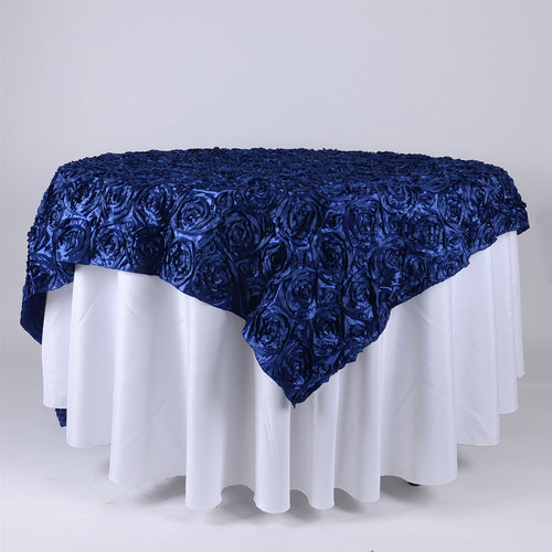 Navy Blue - 85 x 85 inch Rosette Satin Square Table Overlays