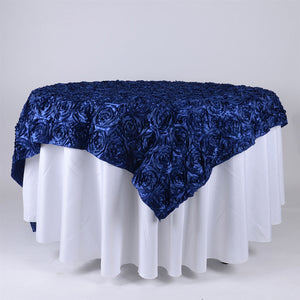 90 Inch x 85 Inch Navy Blue 85 x 85 Square Rosette Satin Overlays