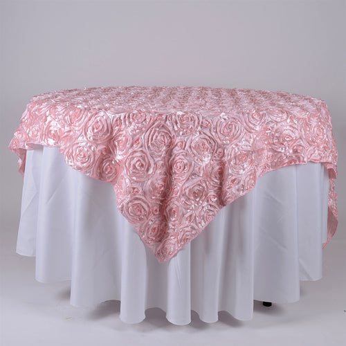 91 Inch x 85 Inch Pink 85 x 85 Square Rosette Satin Overlays