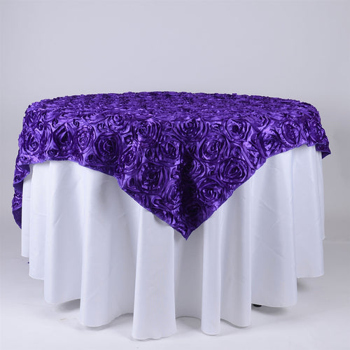 Purple - 85 x 85 inch Rosette Satin Square Table Overlays