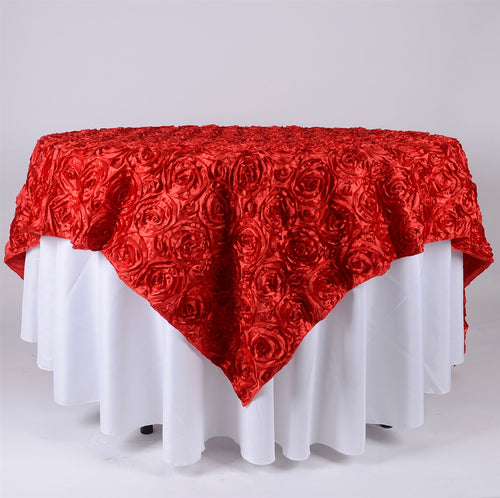 Red - 85 x 85 inch Rosette Satin Square Table Overlays