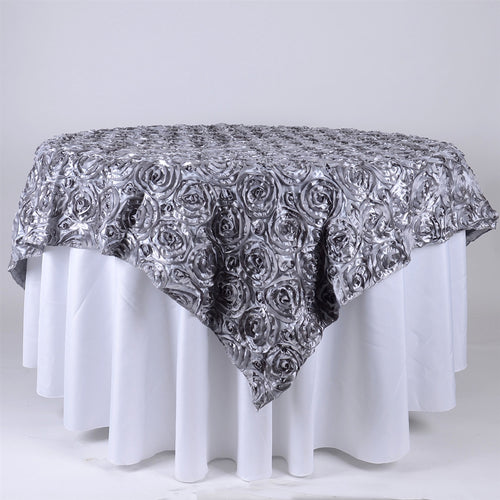 Silver - 85 x 85 inch Rosette Satin Square Table Overlays
