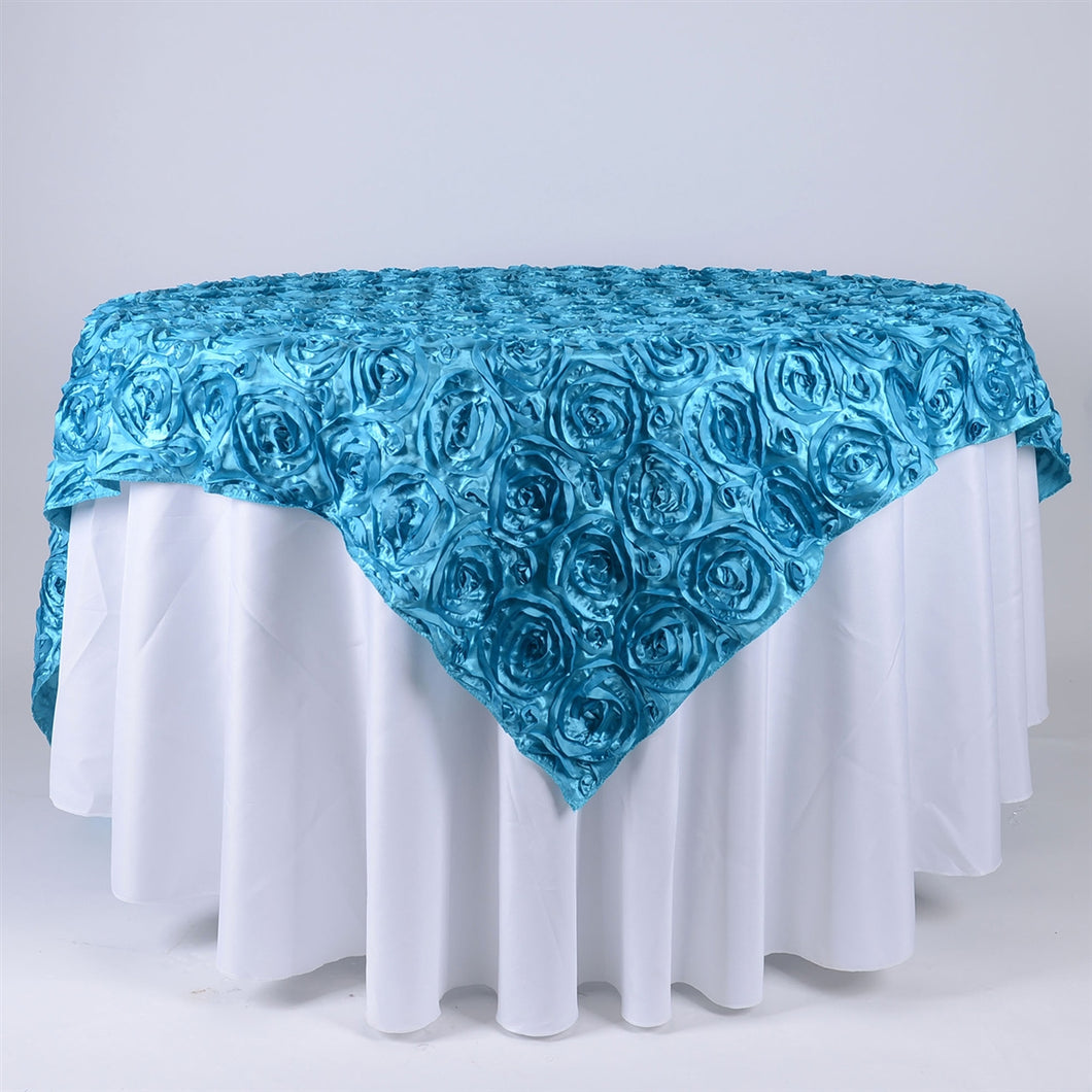 96 Inch x 85 Inch Turquoise 85 x 85 Square Rosette Satin Overlays