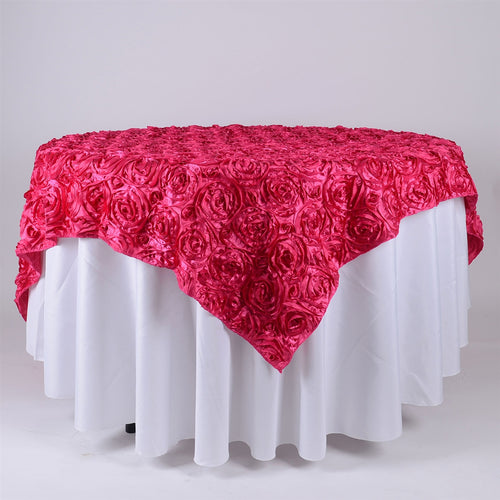 Fuchsia - 85 x 85 inch Rosette Satin Square Table Overlays