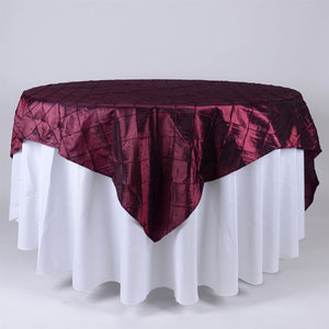 85 inch Burgundy 85 x 85 Square Pintuck Satin Overlays