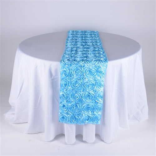 Light Blue - 14 x 108 Inch Rosette Satin Table Runners - FuzzyFabric