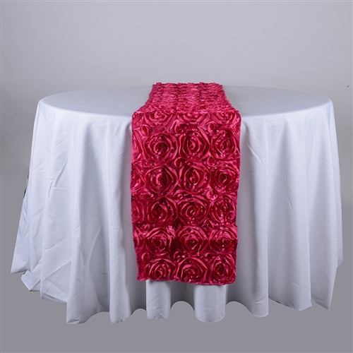 Fuchsia - 14 x 108 Inch Rosette Satin Table Runners - FuzzyFabric