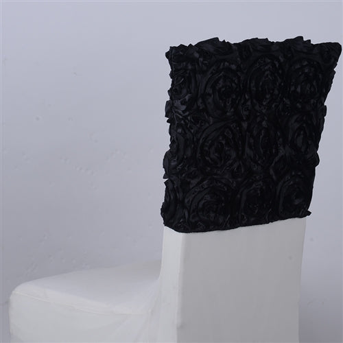 Black - 16 x 14 Inch Rosette Satin Chair Top Covers
