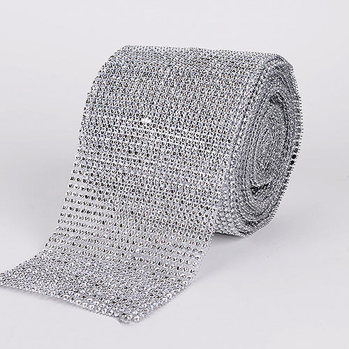 1-1/2 Inch x 10 Yards Silver Bling Diamond Rolls