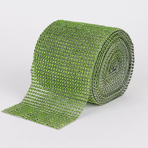 Apple Green Bling Diamond Rolls - ( W: 4 Inch | L: 10 Yards )