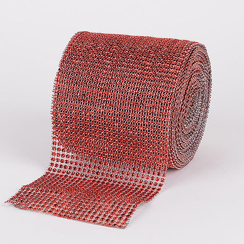 4 Inch x 10 Yards Red Bling Diamond Rolls