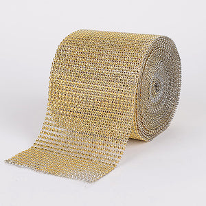 1-1/2 Inch x 10 Yards Gold Bling Diamond Rolls
