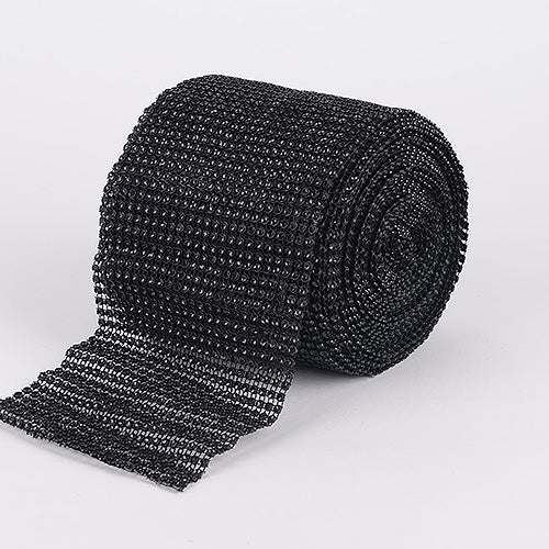 4 Inch x 10 Yards Black Bling Diamond Rolls