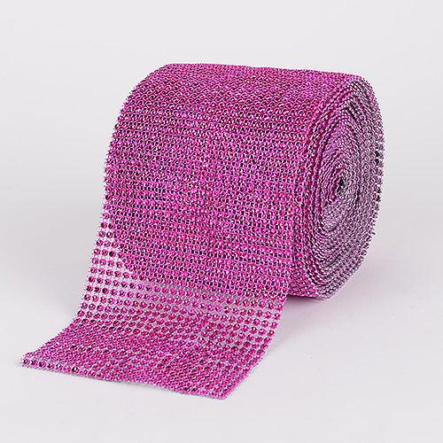 4 Inch x 10 Yards Fuchsia Bling Diamond Rolls