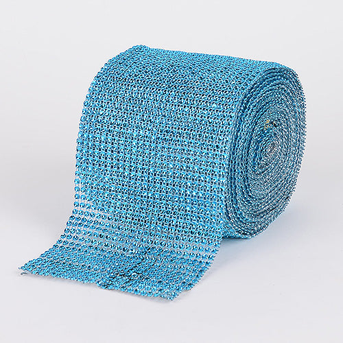 1-1/2 Inch x 10 Yards Turquoise Bling Diamond Rolls