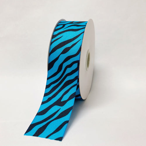 Turquoise - Grosgrain Ribbon Animal Print - ( 1-1/2 inch | 25 Yards )