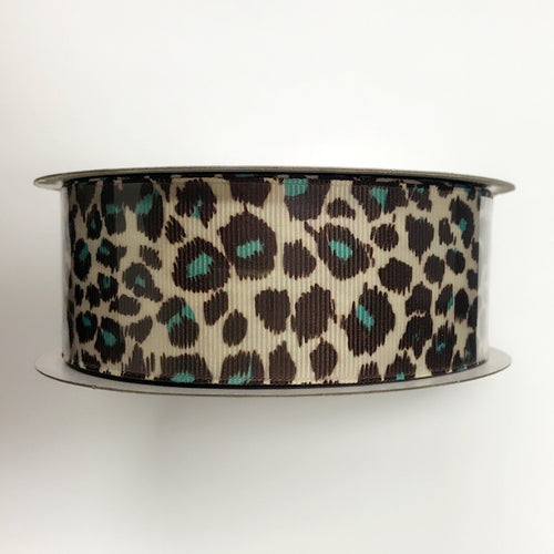 Grosgrain Ribbon Animal Print Fuzzy Leopard Blue ( 1-1/2 inch | 25 Yards )