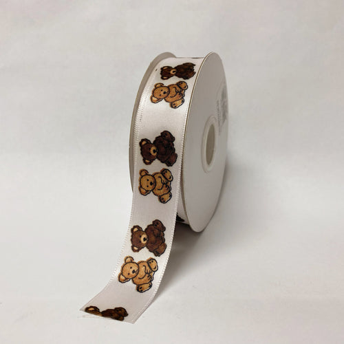Satin Ribbon Bear Design - ( W: 7/8 Inch | L: 25 Yards ) - 90070502