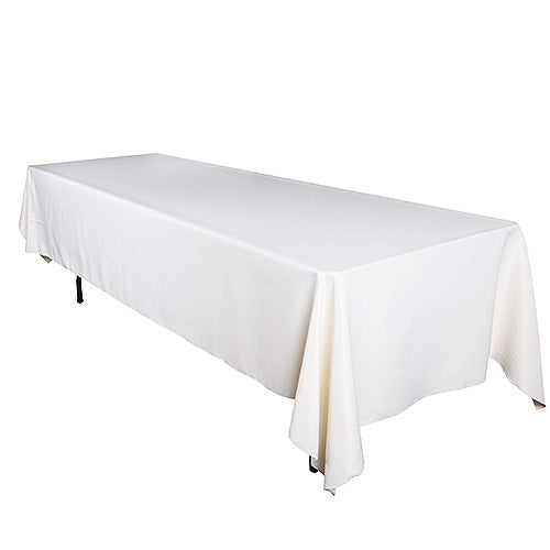 90 inch x 132 inch Ivory 90 x 132 Rectangle Tablecloths
