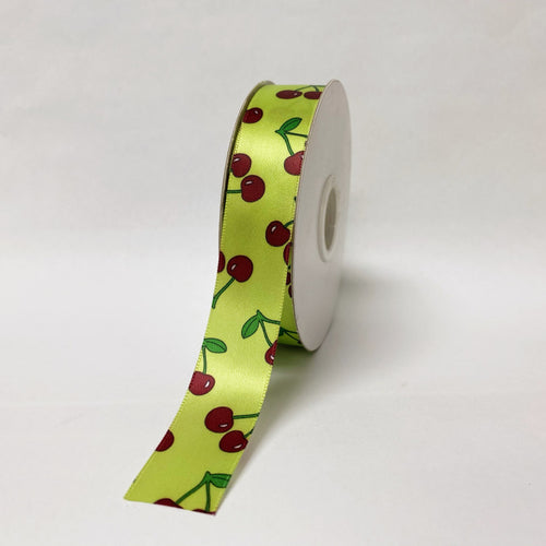 Satin Ribbon Cherry Design - ( W: 7/8 Inch | L: 25 Yards ) - 90140505