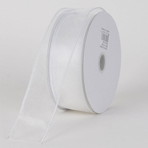 1-1/2 inch White Organza Ribbon Thick Wire Edge 25 Yards