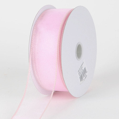 1-1/2 inch Light Pink Organza Ribbon Thick Wire Edge 25 Yards
