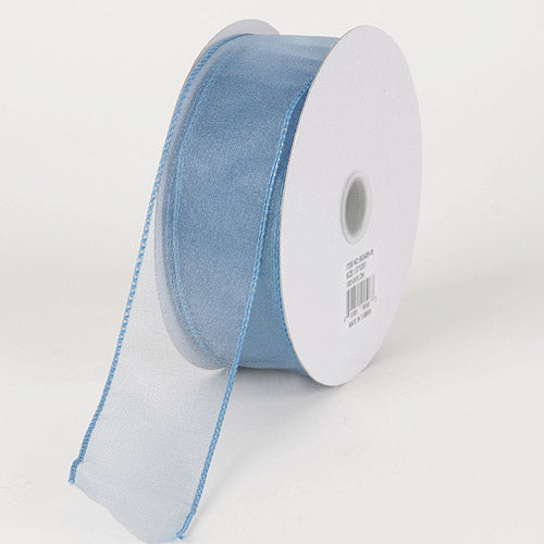 1-1/2 inch Smoke Blue Organza Ribbon Thick Wire Edge 25 Yards