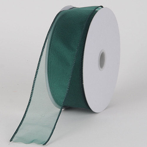 1-1/2 inch Hunter Green Organza Ribbon Thick Wire Edge 25 Yards