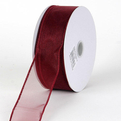 2-1/2 inch Burgundy Organza Ribbon Thick Wire Edge 25 Yards