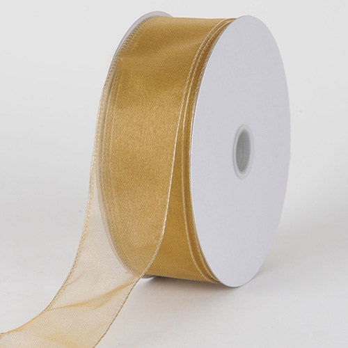 1-1/2 inch Old Gold Organza Ribbon Thick Wire Edge 25 Yards