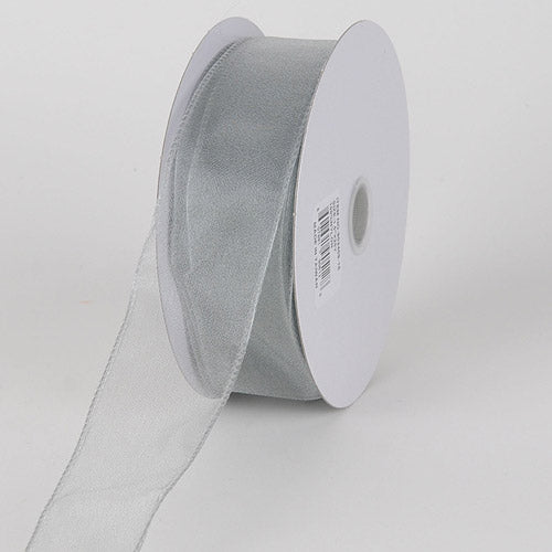 1-1/2 inch Silver Organza Ribbon Thick Wire Edge 25 Yards